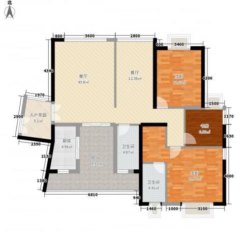 皇马郦宫3室1厅2卫1厨121.00㎡户型图