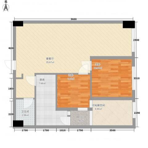 红星国际广场2室1厅1卫1厨88.00㎡户型图