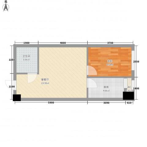 红星国际广场1室1厅1卫1厨54.00㎡户型图