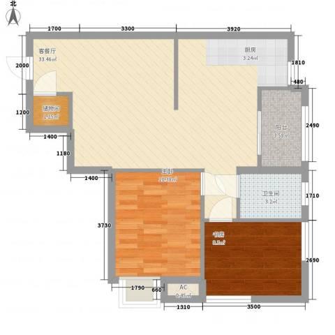 红星国际广场2室1厅1卫0厨87.00㎡户型图