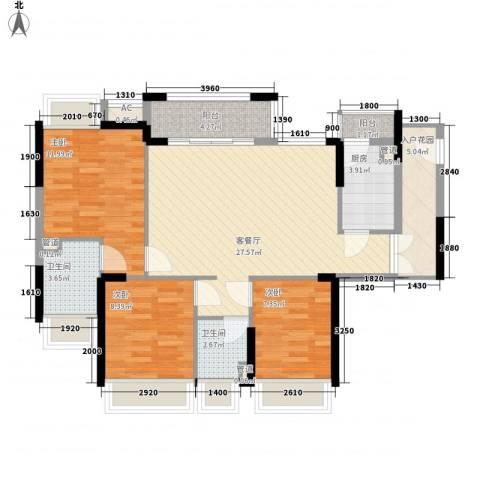 丰泰旗山绿洲3室1厅2卫1厨98.00㎡户型图