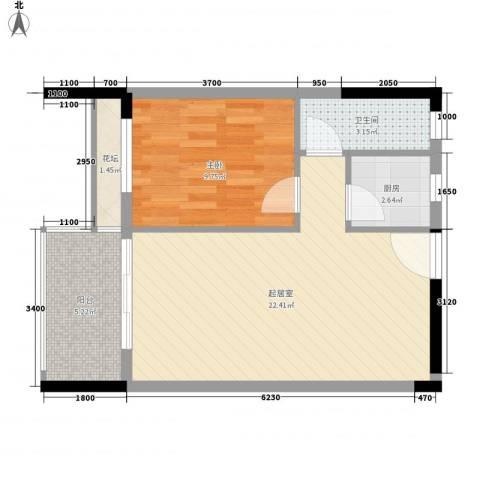 利丰城市花园1室0厅1卫1厨63.00㎡户型图