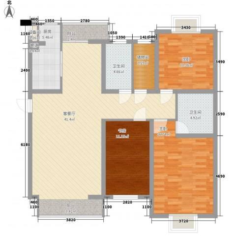 滨河湾3室1厅2卫1厨142.00㎡户型图