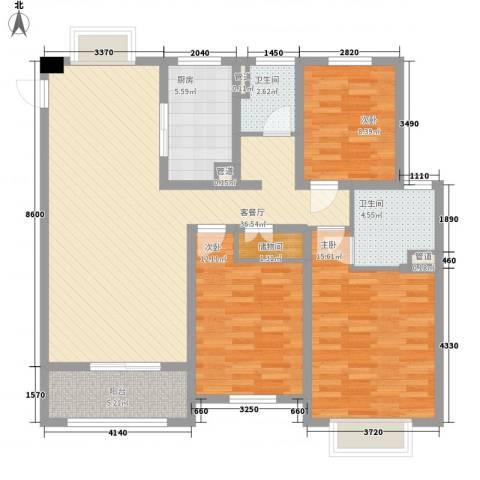 红豆人民路九号3室1厅2卫1厨134.00㎡户型图
