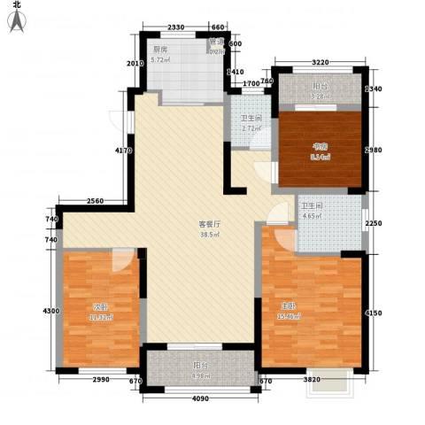 红豆人民路九号3室1厅2卫1厨137.00㎡户型图