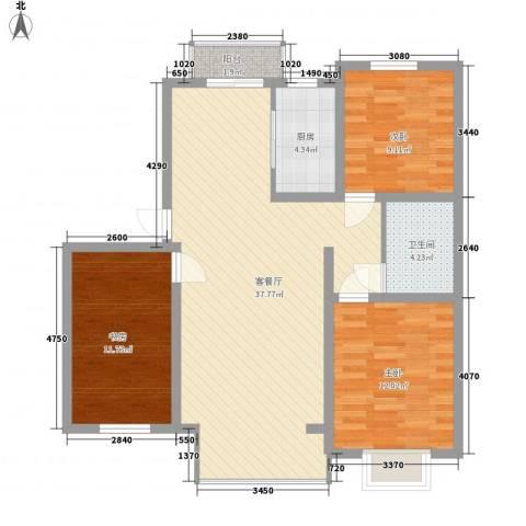 滨河湾3室1厅1卫1厨116.00㎡户型图