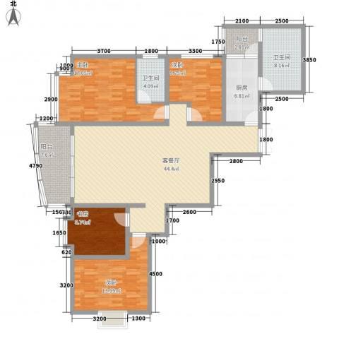 乾图中心广场4室1厅2卫1厨123.38㎡户型图