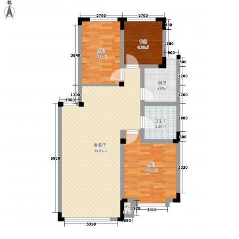 剑桥园3室1厅1卫1厨104.00㎡户型图