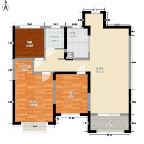 红豆人民路九号3室1厅1卫1厨116.00㎡户型图