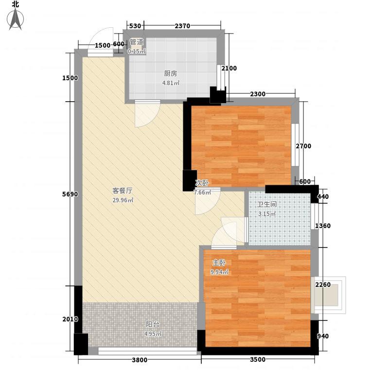 方圆名城77.77㎡B1#D户型2室2厅1卫1厨