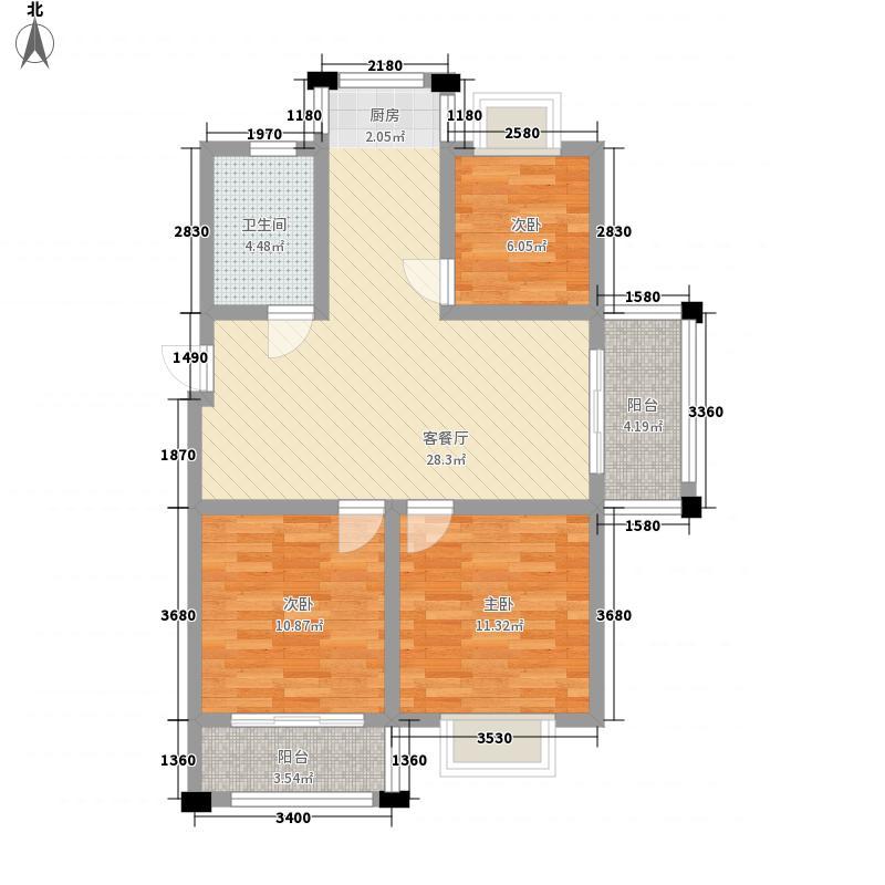 华府天地99.00㎡华府天地户型图3#、4#楼99平户型3室2厅1卫1厨户型3室2厅1卫1厨