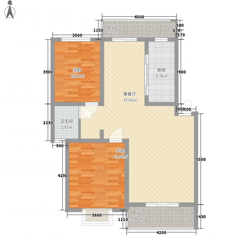 丽景天成5.00㎡二期2#3#4#8#15#楼C户型2室2厅1卫1厨