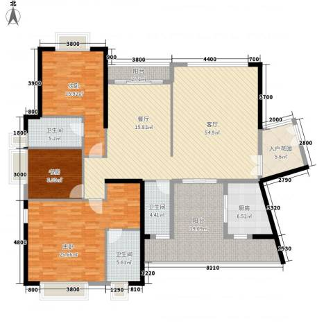 皇马郦宫3室1厅3卫1厨163.00㎡户型图