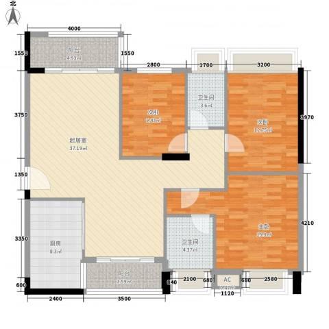 利丰城市花园3室0厅2卫1厨124.00㎡户型图