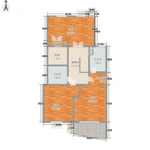 文化花园明珠苑3室0厅2卫0厨165.00㎡户型图