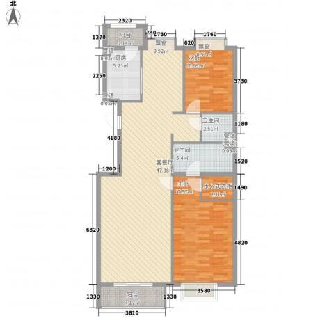 银谷美泉家园2室1厅2卫1厨137.00㎡户型图