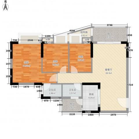 康怡丽苑3室1厅2卫1厨109.00㎡户型图