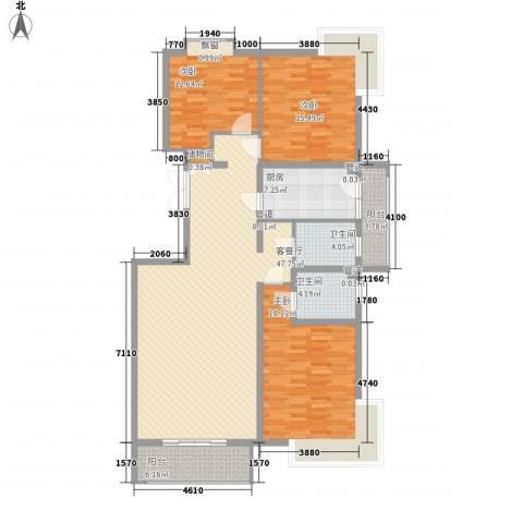 银谷美泉家园3室1厅2卫1厨168.00㎡户型图