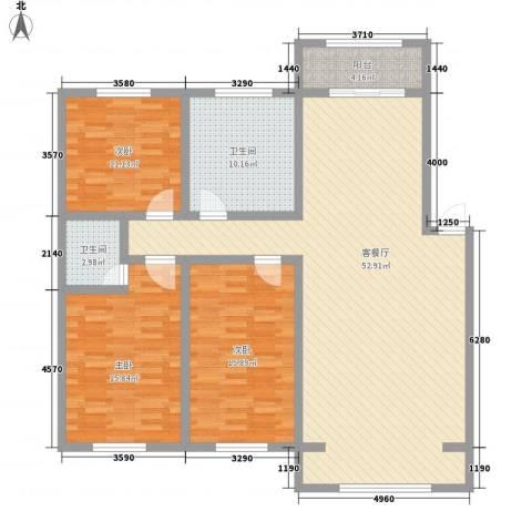学清园3室1厅2卫0厨160.00㎡户型图