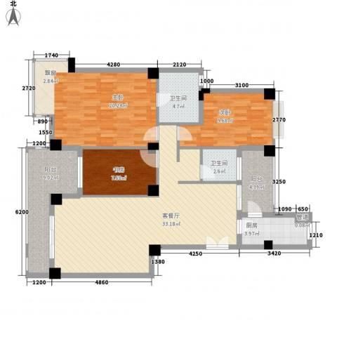 一米阳光快乐家园3室1厅2卫1厨136.00㎡户型图