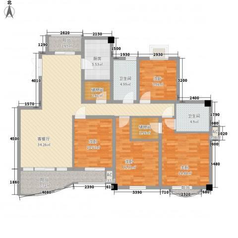 文化花园明珠苑4室1厅2卫1厨164.00㎡户型图