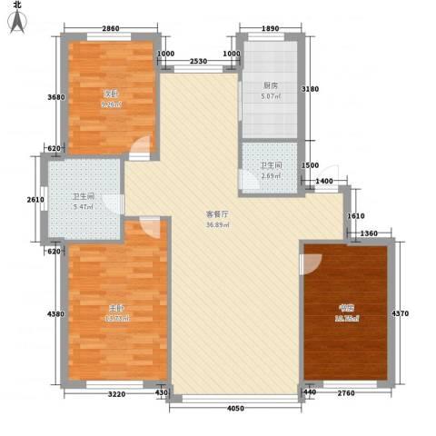 新华壹品3室1厅2卫1厨116.00㎡户型图