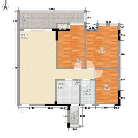 中辉大厦3室1厅1卫1厨100.00㎡户型图