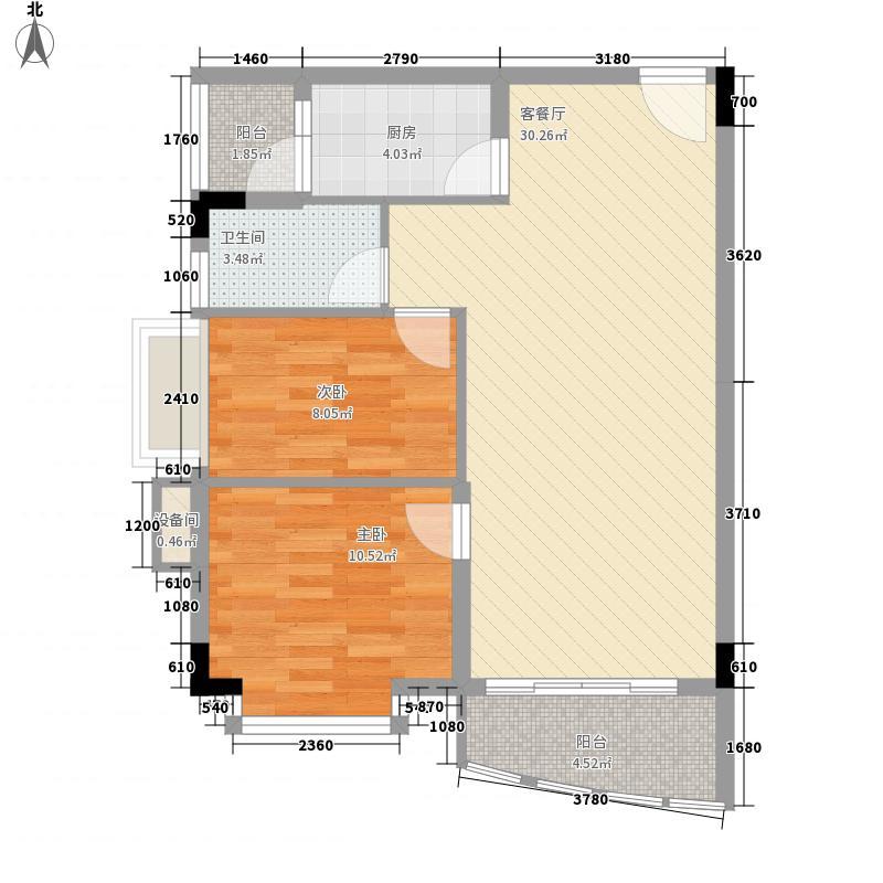 蔚蓝星湖三期76.00㎡蔚蓝星湖三期2室户型2室