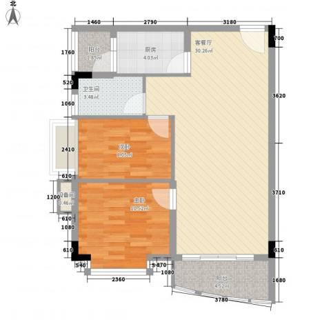 蔚蓝星湖三期2室1厅1卫1厨76.00㎡户型图