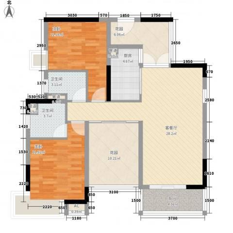 都市阳光2室1厅2卫1厨84.32㎡户型图