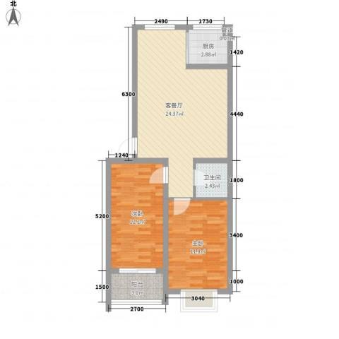 怡安嘉园二期2室1厅1卫1厨82.00㎡户型图