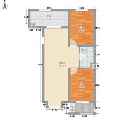 凤城盛世2室1厅1卫1厨88.00㎡户型图