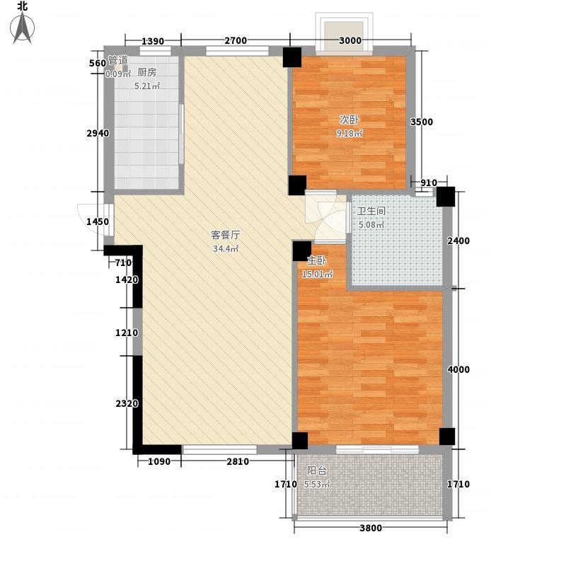 九韵国际峰尚11.20㎡E户型2室2厅1卫1厨