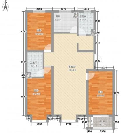 凤城盛世3室1厅2卫1厨121.00㎡户型图