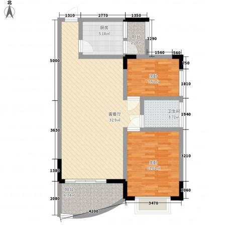 中南花园2室1厅1卫1厨104.00㎡户型图