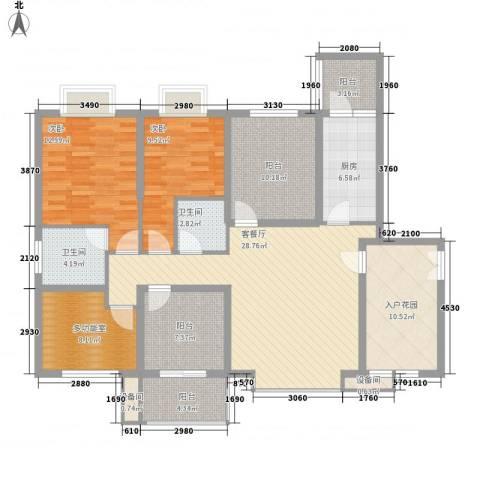 禹洲领海2室1厅2卫1厨125.00㎡户型图