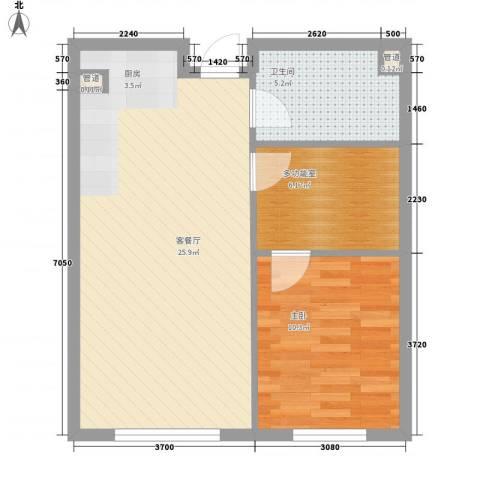 亿达天琴山1室1厅1卫0厨68.00㎡户型图