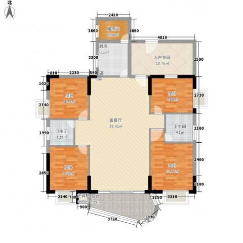 华信大厦4室1厅2卫1厨156.00㎡户型图
