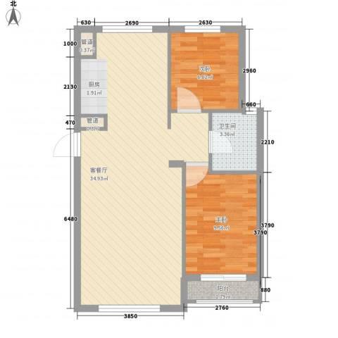 铭熙水岸2室1厅1卫0厨80.00㎡户型图