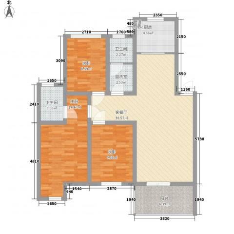 南艳滨湖时光3室1厅2卫1厨118.00㎡户型图