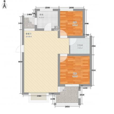 东郊小镇第三街区2室1厅1卫1厨82.00㎡户型图