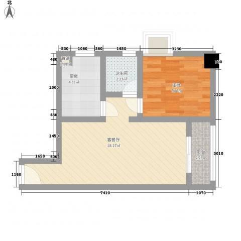 美林海岸花园1室1厅1卫1厨53.00㎡户型图