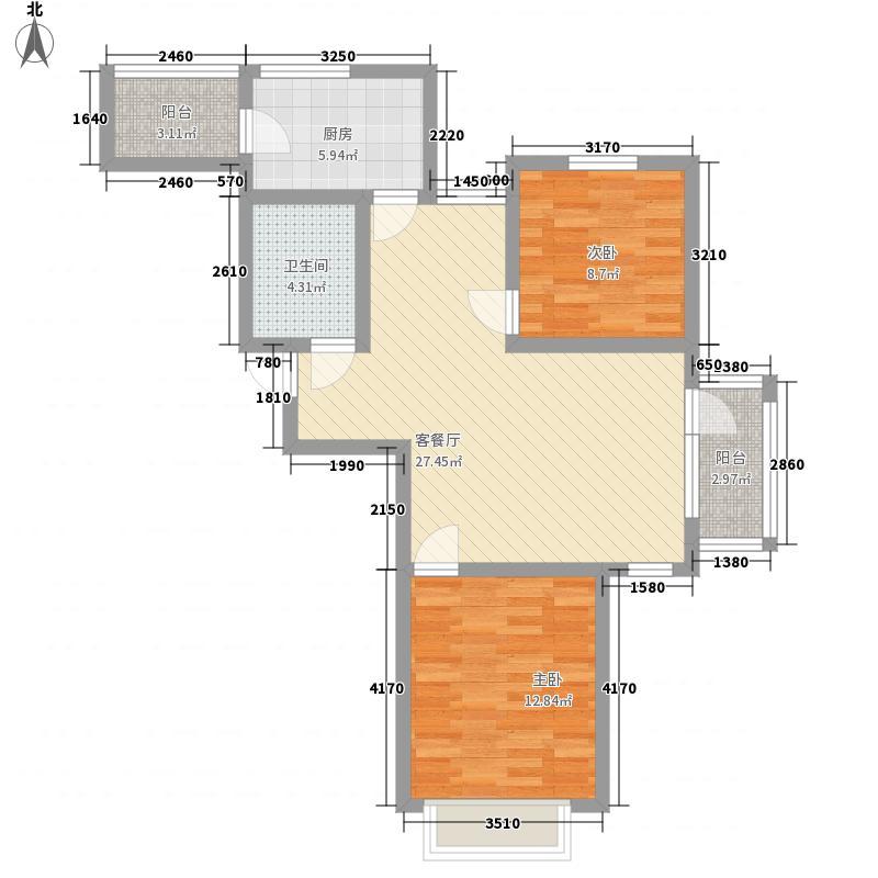 摩卡假日4.46㎡11/12号楼标准层R(售罄)户型2室2厅1卫1厨