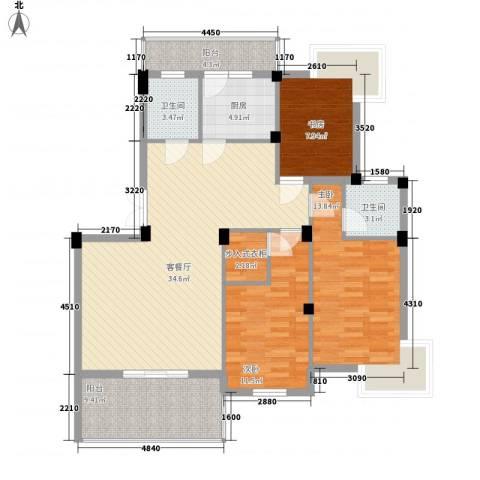 如意金水湾3室1厅2卫1厨134.00㎡户型图