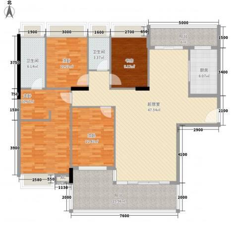 利丰城市花园4室0厅2卫1厨166.00㎡户型图
