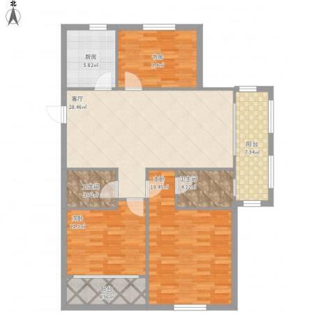 万泰时代城3室1厅2卫1厨129.00㎡户型图
