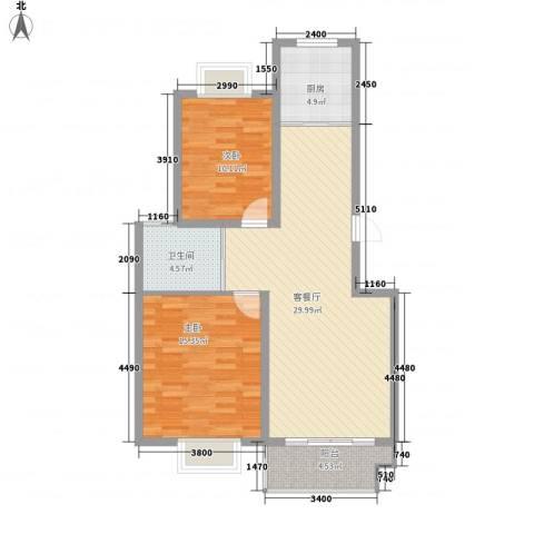 锦绣花园四期2室1厅1卫1厨98.00㎡户型图
