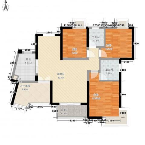 世纪城龙吉苑3室1厅2卫1厨88.10㎡户型图