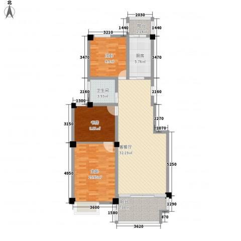 清水湾3室1厅1卫1厨124.00㎡户型图