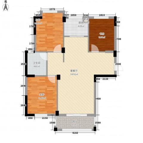 星汇半岛二期3室1厅1卫1厨113.00㎡户型图